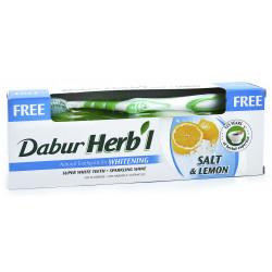 Зубная паста Дабур Соль и Лимон + зубная щётка в подарок, Dabur Herb`l Salt & Lemon, 150грамм