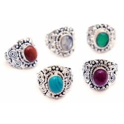 """Кольцо """"Ассорти"""" с натуральным камнем из белого метала 2,5*2,2*2см. NEHA-10"""