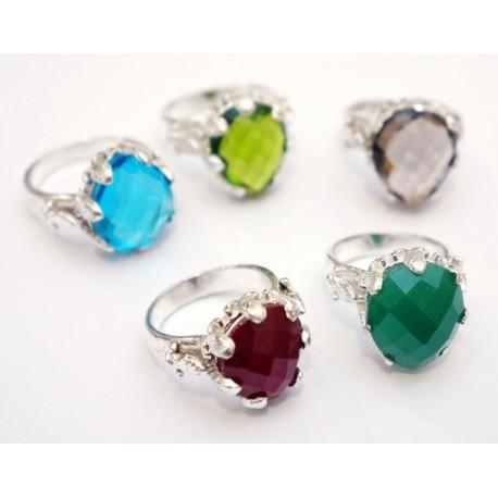 """Кольцо """"Ассорти"""" с натуральным камнем из белого метала 2,8*2,3*1,8см. NEHA-21"""