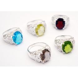 """Кольцо """"Ассорти"""" с натуральным камнем из белого метала 3*2,3*1,5см. NEHA-12"""