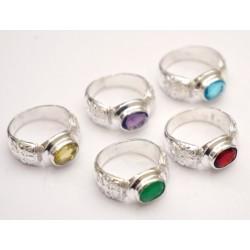 """Кольцо """"Ассорти"""" с натуральным камнем из белого метала 2,4*2,2*1см. NEHA-15"""