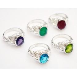 """Кольцо """"Ассорти"""" с натуральным камнем из белого металла 2,7*2,2*1,5см. NEHA-13"""