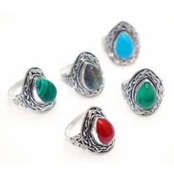 """Кольцо """"Ассорти"""" с натуральным камнем из белого металла 2,5*2,5*2см. NEHA-8"""
