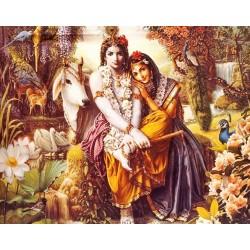 Картина со светодиодами Шри Радха Кришна