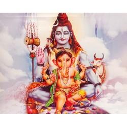 Картина со светодиодами Шри Шива с Ганешей