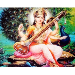 Картина со светодиодами Богиня искуств Шри Сарасвати, Индийские Божества
