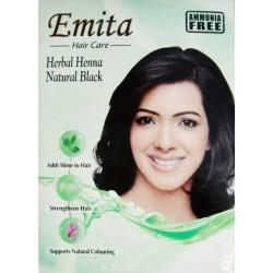 Краска для волос на основе Хны Чёрная «ЭМИТА» травяная стойкая без аммиака, Broun EMITA