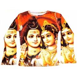 Футболка с Шри Шива с Парвати, женская, длинный рукав, цветная