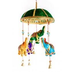 """Подвеска - связка """"5 слоников под куполом"""" зелёный купол"""