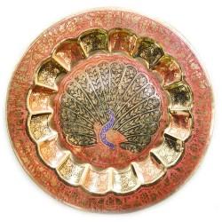 """Тарелка бронзовая с Павлином настенная, красная, Wall Plate Jaipuri Mix 10"""""""