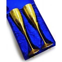 """Бокалы бронзовые позолоченные Индийские, набор 2 шт/200мл. Goblet 9""""Set -2ps GOLD"""