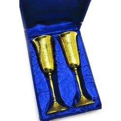 """Бокалы бронзовые, позолоченные Индийские наборр 2 шт/210мл. Goblet 9""""Set -2ps GOLD"""