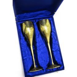 """Бокалы бронзовые, позолоченные Индийские набор 2 шт/210мл. Goblet 9""""Set -2ps GOLD"""