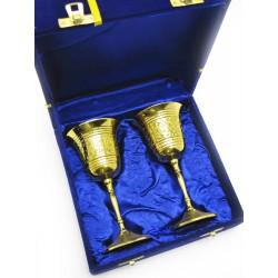 """Бокалы бронзовые, позолоченные Индийские набор 2 шт/140мл. 7""""Set -2ps GOLD)"""