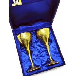 """Бокалы бронзовые, позолоченные Индия набор 2 шт/160мл. 7""""Set -2ps GOLD)"""