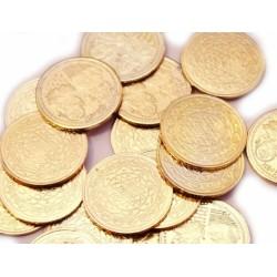 Монета с Янтрой и Индийскими Божествами, алтарная из желтого метала
