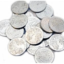Монета с Янтрой и Индийскими Божествами, алтарная из белого метала