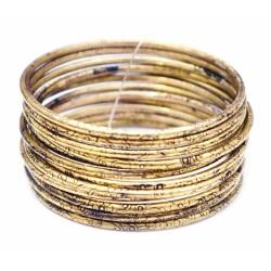 Комплект из 12 браслетов кольцо Дутые желтый метал