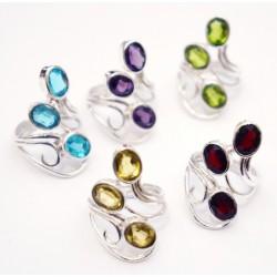 """Кольцо NEHA-20 """"Ассорти"""" с натуральным камнем из белого метала 3,3*2,5*2см."""