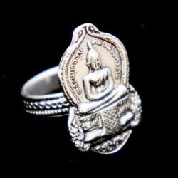 Кольцо Шри Будда белый метал 2см.