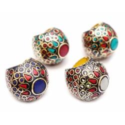"""Кольцо NEHA-NR25 """"Мозаика"""" латунь + вставки из натуральных камней"""