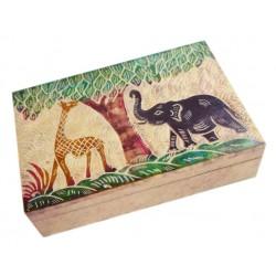 Шкатулка Индийская со Слоником и Жирафом