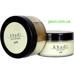 Натуральная очищающая маска для лица и тела Золото, Кхади, Gold Peel off Mask, Khadi, 50грамм