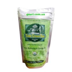 Чай органический Тулси, Базилик Священный - Зелёный чай слим-пакет, Organic India Tulsi Green Tea, 100грамм