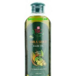 Масло Амла Голд Золотое с Миндалём, Базиликом, Харитаки, для волос, - TBC Amla Gold Hair Oil, 200мл