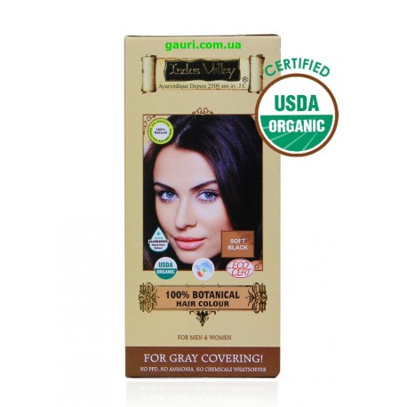 Краска Долина Инда 100% натуральная, органическая, Чёрный, 100% Botanical Hair Colour Soft Black, Indus Valley