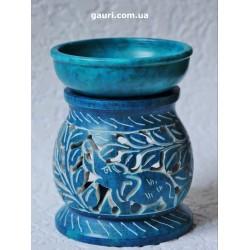Аромалампа со Слоником каменная круглая, тёмно синяя арт.ALR99449