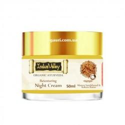 Восстанавливающий ночной крем для лица с Сандалом, Кокумом и Миндалём, Долина Инда, Indus Valley Retexturing Night Cream, 50грм