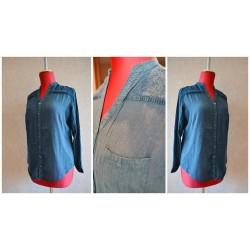 Синяя рубашка MANGO из жатого 100% хлопка, c вышивкой на плечах. Размер-S,M