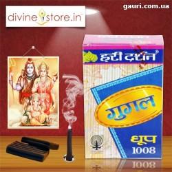 Благовоние безосновное Hari Darshan Gugal Dhoop 1008, с пряным ароматом, мягкое благовоние.