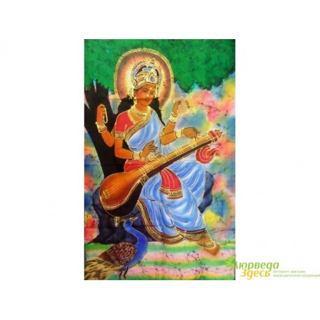 Панно Боги, 75х115 ручная работа, Шри Сарасвати