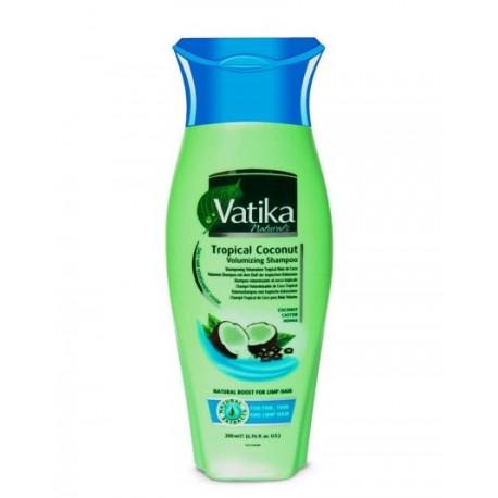 Шампунь для придания объёма содержит масло кокоса и экстракт хны Дабур ватика, Dabur Vatika Volume & Thickness