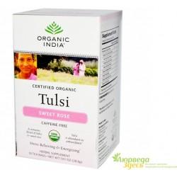 Чай органический Тулси, Сладкая Роза, Tulsi, Sweet Rose, Organic