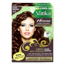 Краска Тёмно - Коричневая на основе натуральной Хны, DABUR VATIKA Dark Brown, 6 пакетиков по 10грамм