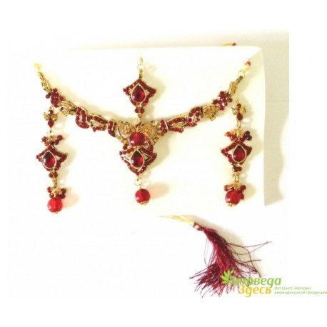Набор украшений (колье, серьги тилака (тика) на волосы со стразами) Раджастан - 9.9