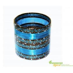 Браслет набор 24 шт. с блеском Голубой диаметр 6 см.