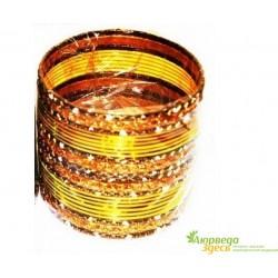 Браслет набор 24 шт. с блеском Золотисто-жёлтый диаметр 6 см.