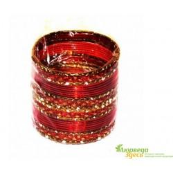 Браслет набор 24 шт. с блеском Красный диаметр 6 см.