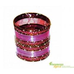 Браслет набор 24 шт. с блеском Фиолетовый диаметр 6 см