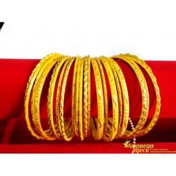 Браслет набор 24 шт. с блеском Золотисто-жёлтый диаметр 7 см.