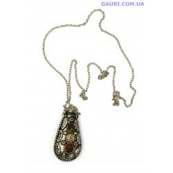 """Аромамедальон (Аромакулон) бронзовый с камнями с камнями """"Лист"""""""