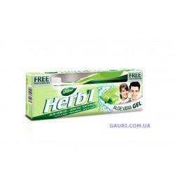 Зубная паста гель Дабур Алое Вера 150 грм., Dabur Herb'l Aloevera Toothpaste+зубная щётка!