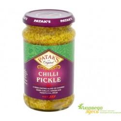 Зелёный Перец Чили маринованный 283 г. в стекляной банке, Грин чили Пикл, Green Chilli Pickle Patak's, вся Индия в одной банке!