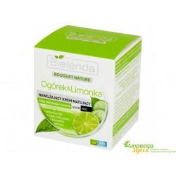 Крем для лица Огурец и Лайм увлажняющий для проблемной кожи 50мл., Bielenda Bouquet Nature Cucumber & Lime Cream
