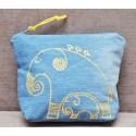 Косметичка c ручной росписью, ткань - хлопок + лен