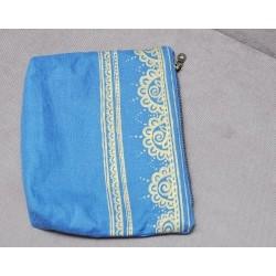 Косметичка c ручной росписью, ткань - шелк + лен